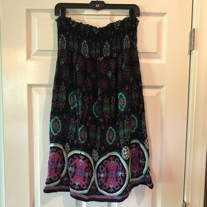 Strapless print sundress